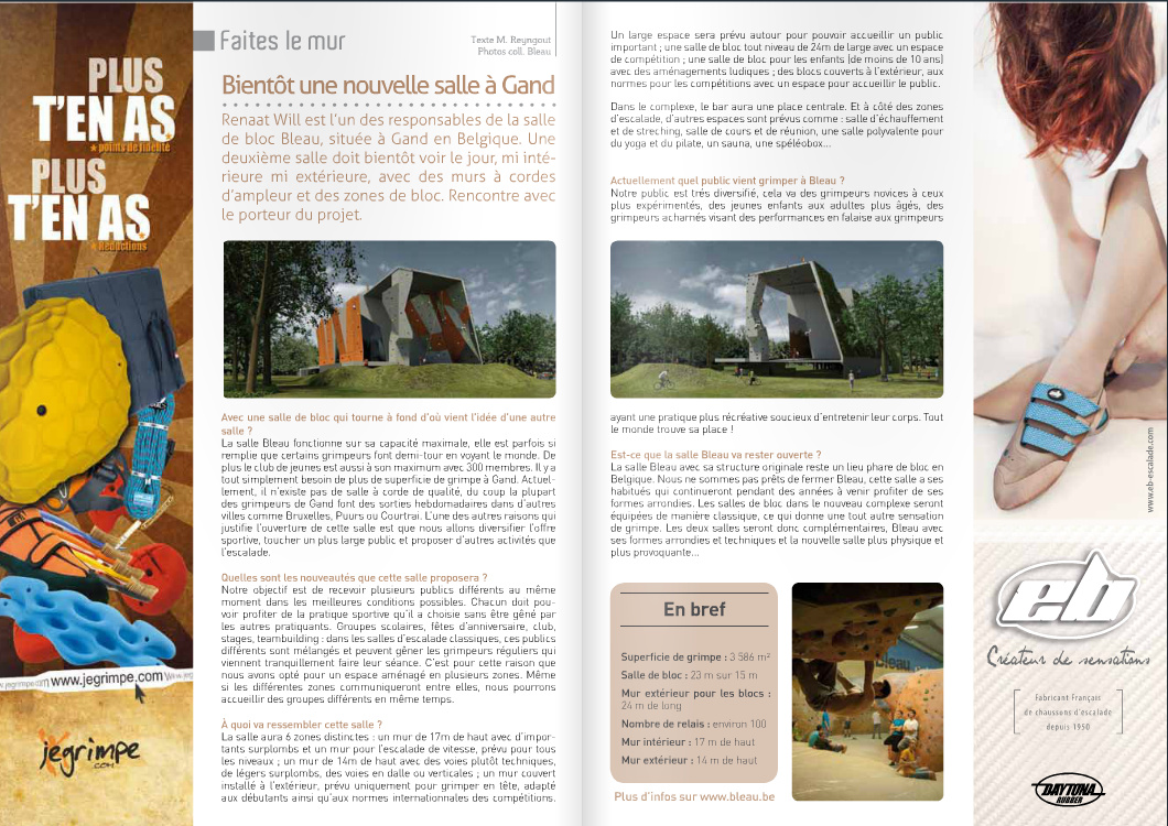EscaladeMag N°50 (texte, 1 photo, climbingwall Gent Belgium)